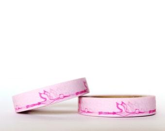 Neon Pink Cranes Washi Tape