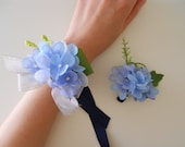 Blue Hydrangea Wrist Corsage with Rhinestone Accent and Matching Bout
