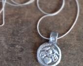 Love Birds Wax Seal Necklace in Handmade Fine Silver, Tiny Pendant