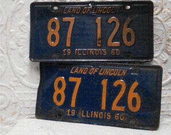 1960 Pair Illinois License Plates Blue Orange