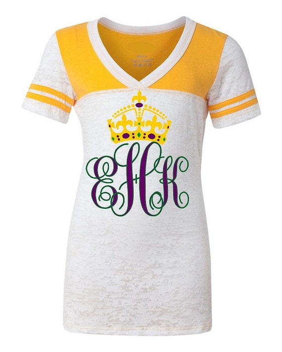 Personalized Monogram Initials Mardi Gras Shirt Junior Fit