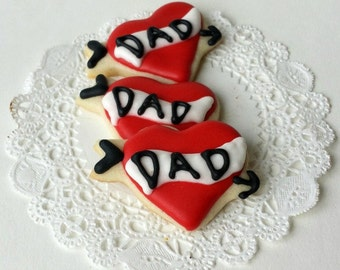 Dad Tattoo Heart Cookies - Mini Bites - Father's Day - Valentine's Day