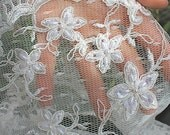 SALE: BRIDAL Lace ivory soft weave lace, Bridal Lace with Scallops. Quick Ship!