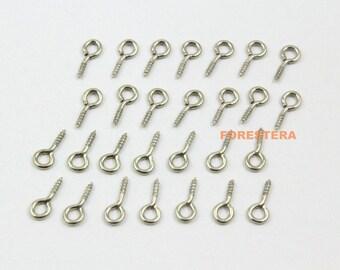 500Pcs 9x4mm Eye Screw Nickel Color Screw Eye Pins (YS-YY1)