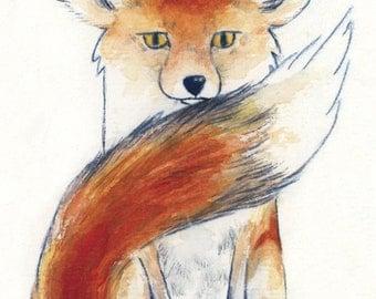 ACEO Fox on White giclée print / Art Card