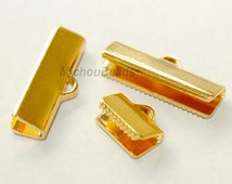 6 GOLD 20mm Ribbon CRIMP - Smooth 20x6mm Rectangle Ribbon End Clamp Brass Crimps for Leather n Cord - USA Wholesale Discount Crimps - 5815