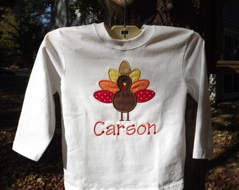 Personalized Embroidered Thanksgiving Turkey Shirt