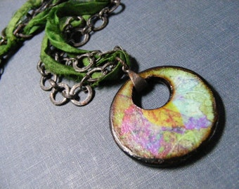 Into the Jungle Necklace:  Dark Brass Chain Green Sari Silk and JLynn Jewels Pendant