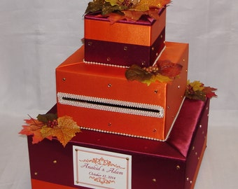 FALL theme -Fall Leaves Wedding Card Box-any colors