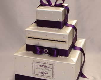 Ivory Eggplant Wedding Card Box-any color combination-rhinestones all over