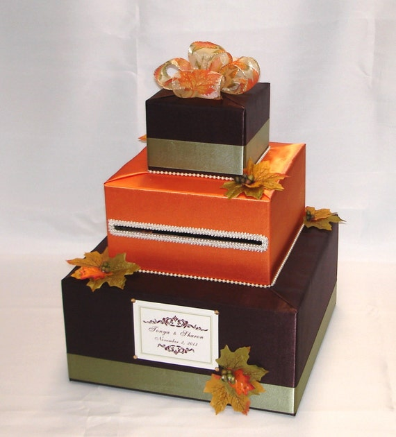 Fall Wedding Card Holder Ideas: FALL Theme Wedding Card Box-any Colors By ExoticWeddingBoxes