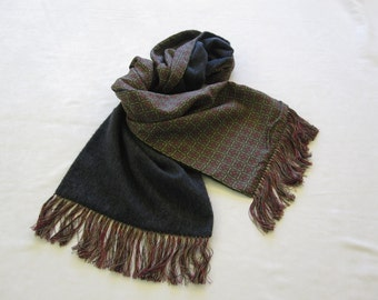 Ancient Madder Silk Neck Scarf with Reverse Side of Charcoal Grey Cashmere – For Men