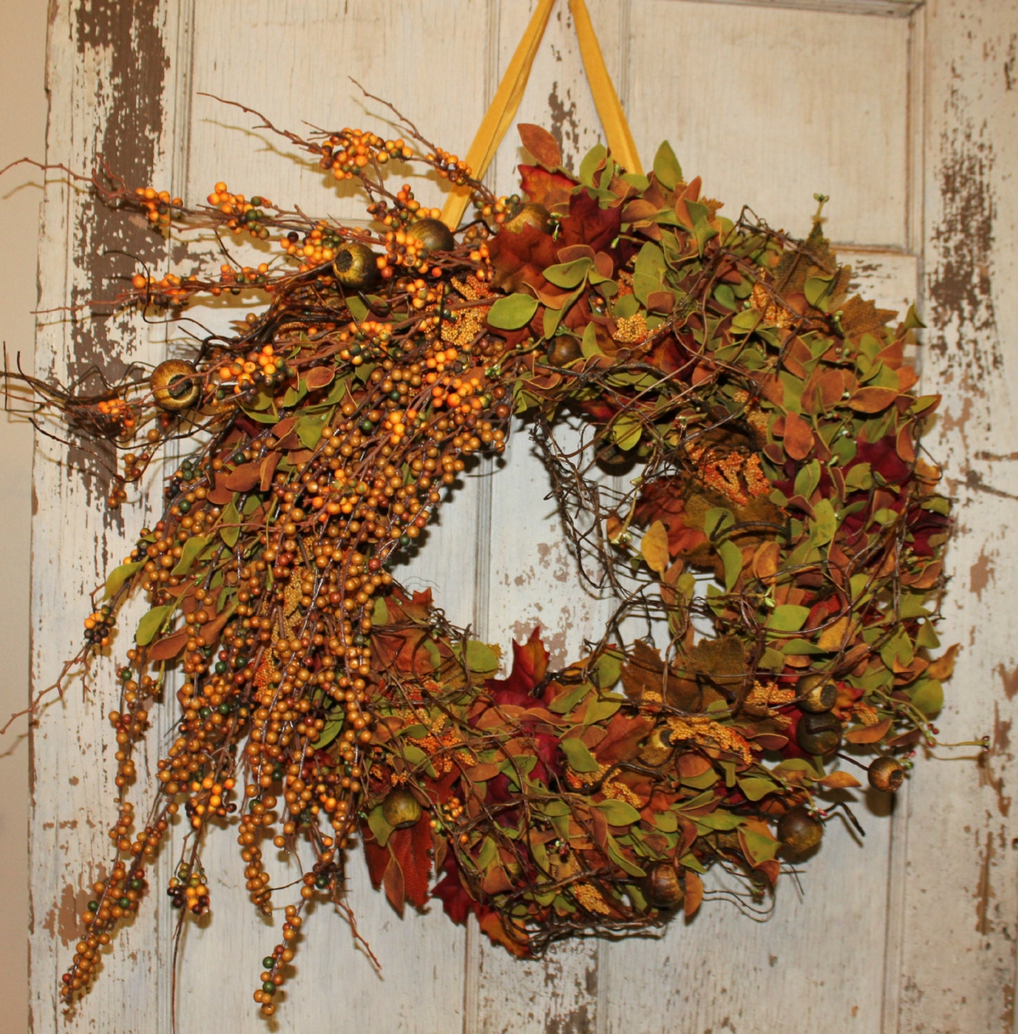 Summer fall wreath door wreath front door deco by beezdream Fall autumn door wreaths