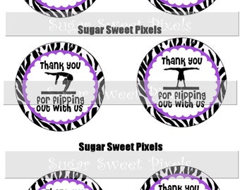 INSTANT DOWNLOAD Purple Gymnastics Thank you  Digiital 1. 5 inch Circle  Party Favor Image  Labels 4 x 6 size sheet