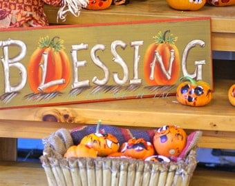 BLESSINGS and pumpkins  at a farm stand   5X7  Photo Greeting card 5x7