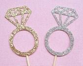 Wedding Ring Cupcake Toppers . Diamond Ring Cupcake Toppers . Engagement Ring Cupcake Toppers . Glitter Diamond Cupcake Toppers Silver Gold