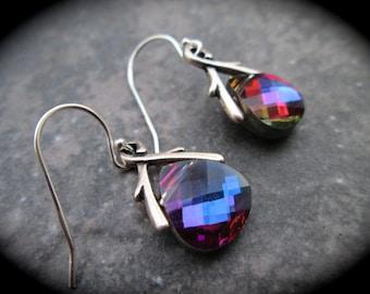 Swarovski briolette earrings Sterling SIlver Red Blue Heliotrope Rainbow Volcano Aurora Borealis