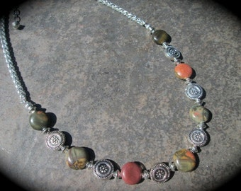 "Red Creek Jasper beaded gemstone necklace with Foxtail chain 16 1/2"" with 3 inch extender Fall jewelry Picasso Jasper Necklace"