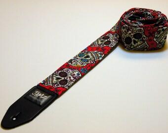 HIPPIE SKULLS Handmade Double Padded Guitar Strap - Dia de los Muertos - Day of the Dead - Handmade