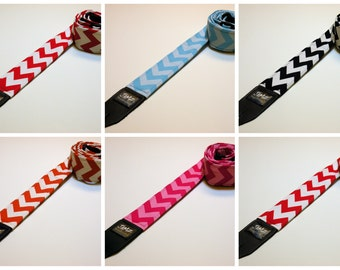 Handmade Double Padded Chevron Guitar Strap - 5 colors to choose from