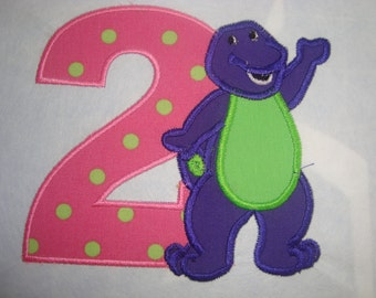Purple dino  Barney Iron on patch with Number Any number 0-9