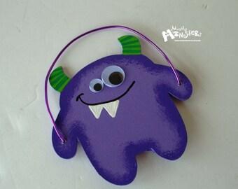 Silly Monster Wood ornament,  Monster Wall Decor,  Child Room decor monster, purple monster BUBBA, Monster ornament