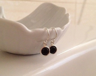 Black Crystal Earrings in Sterling Silver -Silver Black Earrings
