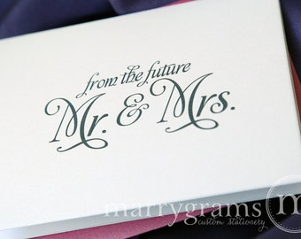 Bridal Shower Thank You Cards - Wedding, Shower, Newly Engaged Couple Gift - From the Future Mr. & Mrs. Purple, Green, Navy, Gold (25ct)