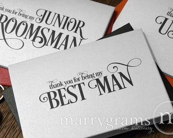 Bridesmaid, Groomsman Thank You Wedding Party Cards - Bridesmaid Card, Matron of Honor, Flower Girl, Usher Thank You Notes (Set of 6) CS06