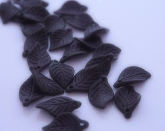 20 Pcs - Midnight Black Acrylic Frosted Leaf Beads (18x11MM)