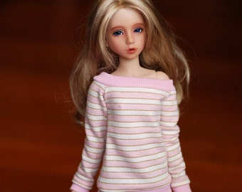 MSD Pink And White Lurex Stripe Sweater For BJD