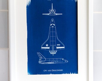 Space Shuttle Discovery A4 Hand coated traditionally made cyanotype blueprint