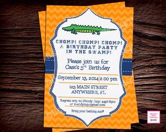 Gator Birthday Invite, Gator Birthday Invitation, Florida Birthday Invitation, Gator Shower, Gator Invitation, Florida Gators, Gators, UF