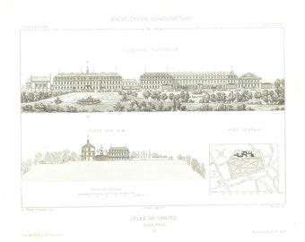 1873 Architectural Print, Facade, Cross Cut, Plan, Lycée de Vanves, France