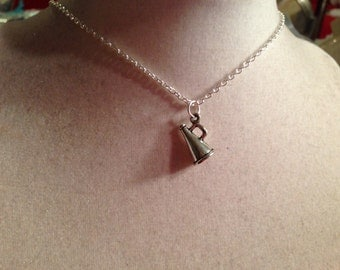 Megaphone Necklace - Silver Jewelry - Cheerleader Jewellery - Children - Girls - Chain - Pendant
