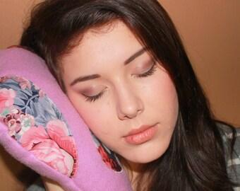 Mauve Floral Owl Plushy Toy Travel Pillow