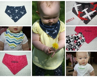 Reversible Personalized Bandanna Bib for infants and toddlers- You design! Designs A