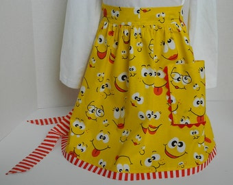Girls Yellow Apron - Children's Clothing - Kids Craft and Cooking Apron - Yellow Smiley Face Print - Preschool Play - Girls' Birthday Gift