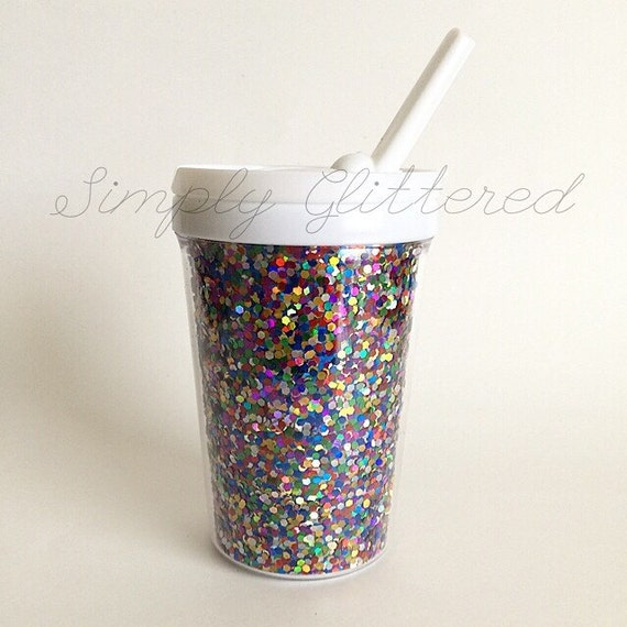 chunky glitter kinder becher mit trinkhalm. Black Bedroom Furniture Sets. Home Design Ideas