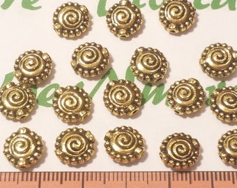 18 pcs per pack 10mm Swirl Coin Beads antique Gold Finish Lead Free Pewter