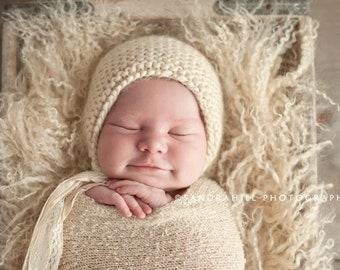 PDF Knitting Pattern - newborn photography prop classic bonnet #12