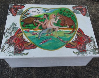 Jewellery box with hand painted Garden of Eden