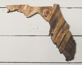 LARGE Custom Rustic State Plaques from strips of Reclaimed Pallet Wood.