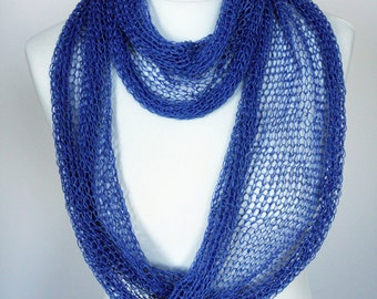 Linen carf infinity knitted light bright blue  ready to ship
