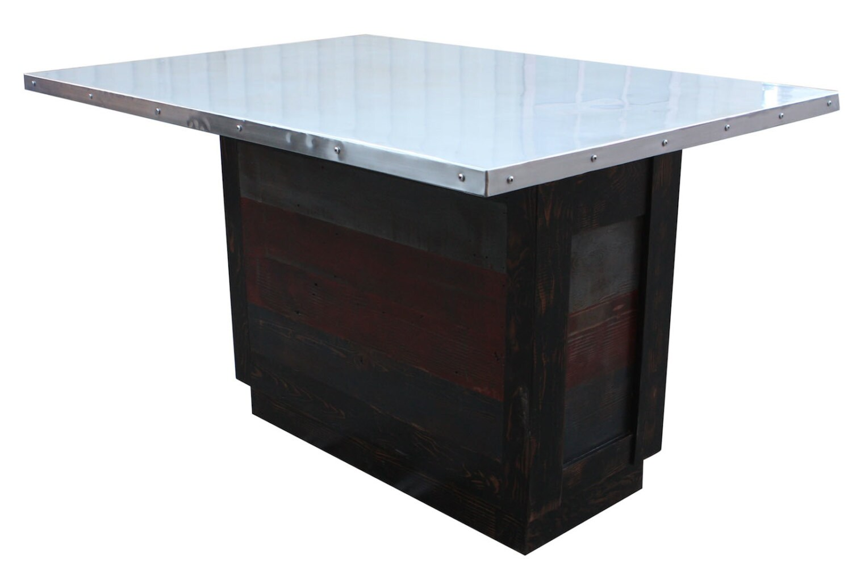 Custom Zinc Top Reclaimed Wood Kitchen Island By Mortiseandtenon