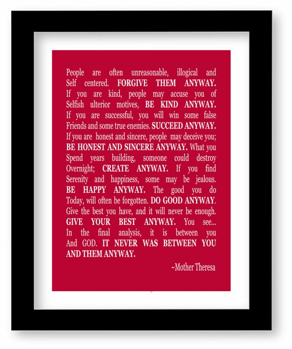 Mother Teresa Marriage Quotes: Mother Teresa Quote Art Print Do It Anyway Wall Art