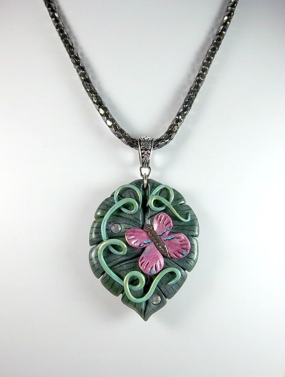 Leaf Pendant, Butterfly Pendant, Polymer Clay, Pink, Green, Nature, Gunmetal Chain.