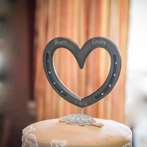 Wedding cake topper Horseshoe Heart western country cake