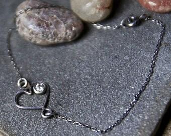 Heart zircon bracelet  silver HANDMADE