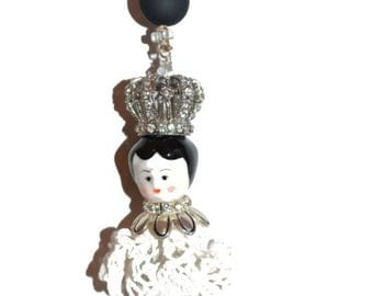 SALE OOAK Ceiling Fan Light Pull Rear View Mirror Queen   Hand-Made Exquisite